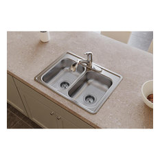 "D225194 Dayton Stainless Steel 25"" x 19"" Double Bowl Drop-in Sink, 4 Holes"