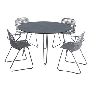 Remy 5-Piece Round Outdoor Dining Table With Stacking Armchairs Set, Grey and Bl
