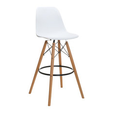 Contemporary Tall Bar Stool, White
