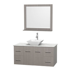 "48"" Gray Oak Single Vanity, White Carrera Marble Top, White Porcelain Sink"