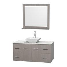 "48"" Gray Oak Single Vanity, White Carrera Marble Top, White Porcelain Sink"