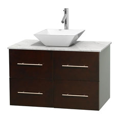 "Centra 36"" Espresso Bathroom Vanity Carrera Marble Top, White Porcelain Sink"