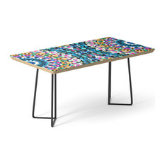 "Society6 Coffee Table, Birch, Steel, 17"", Tribal Mandala G117 By Medusa81"
