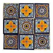 "4""x4"" Handpainted Mexican Talavera Tiles, 9-Piece Set"