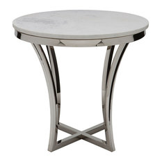 Aurora Marble Side Table, White Marble Polished Stainless Steel Base