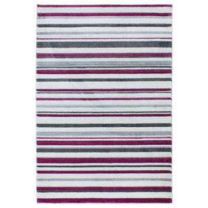 Vogue VG21 Rug, Pale Grey and Burgundy Stripes, 200x290 cm