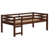 Solid Wood Low Loft Bed - Walnut
