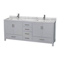 "Sheffield 80"" Gray Double Vanity, Square, White Carrera Marble"