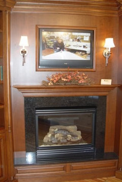 Tv Above Gas Fireplace Where Does The Cable Box Go