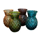 4-Piece Set Colourful Glass Pineapple Vases