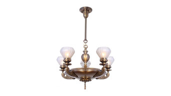 Antique Lighting Circa 1910, Five Light, Exceptional Cast Arm Fixture with Beade