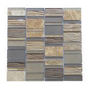 "12""x12"" Loft 8 Mosaic Mix Tiles, Set of 5, Emperador Light"