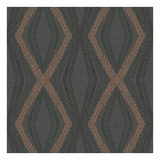 Diamond Chain Geometric Wallpaper, Black/Metallic Copper, Sample