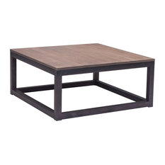Zuo Modern Contemporary Square Coffee Table Distressed Natural Metal Wood