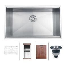 """Ruvati - Rvh8300 Undermount 16 Gauge 32"""" Kitchen Sink, Single Bowl - Kitchen Sinks"""