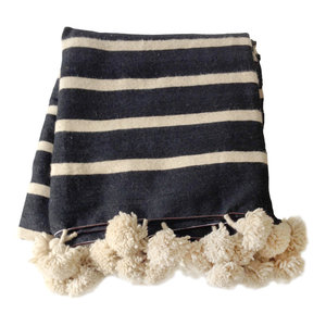 Moroccan Wool Pom Pom Striped Blanket, Black and Natural