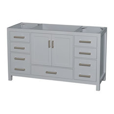 "Sheffield 60"" Single Vanity No Countertop, No Sink, Gray, No Mirror"