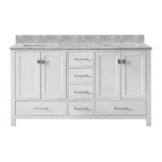 Caroline Avenue 60-inch Double Vanity White Marble Top Square Sink