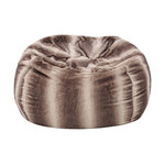 Meridian Plush Oak Brown Stripes Fur Fabric Bean Bag