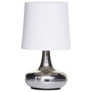Mini Scratched Chrome Table Lamp, White