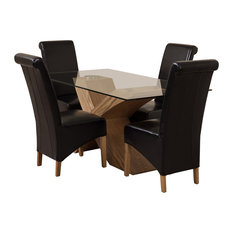 Valencia Glass, Oak Dining Table, 4 Montana Chairs, Black Leather