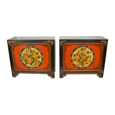 Floral Painted Gansu Cabinets Set Of 2