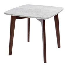 "Gavia 19.5"" Square Italian Carrara White Marble Side Table with Walnut Legs"