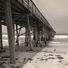 Young Lovers Flagler Beach Pier Florida Fine Art Black and White Photography , 1