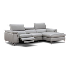 Serena Italian Leather Sectional Sofa With Power Recliner Right Hand Facing