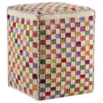 """M.A. Trading Inc - Small Box, White Multi, 20""""x16""""x16"""" - A fun product and design for those with an adventurous design style. The Small Box pouf is a hand-woven cushion that features tiny geometric squares in alternating dye levels that dance upon the surface of the fabric. An ideal finishing touch to your design project, this pouf can easily tie a room look together and shows your attention to detail. Great for use as extra seating. This style is also available in decorative pillows and floor rugs."""