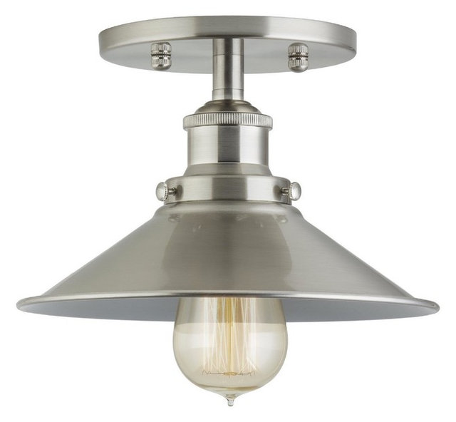 Industrial factory semi flushmount ceiling lamp brushed nickel one industrial factory semi flushmount ceiling lamp brushed nickel one aloadofball Choice Image
