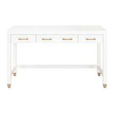 Stella 3-Drawer Desk, Matte White