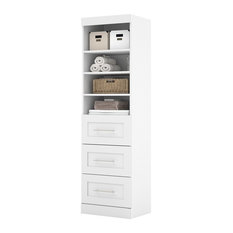 Bestar - Bestar Pur By Bestar 25 Storage Unit With 3-Drawer Set, White - Entertainment Centers and Tv Stands