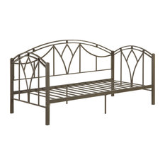 Bronze Metal Day Bed With Slats, Brown