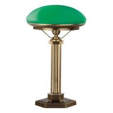 Brass Decor Glass Shade Green Bankers Table Lamp Office
