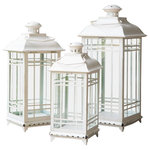 Avion Innovative Products LLC - California Bay Mission Lanterns, Set of 3 - The stylish and functional lanterns make ideal decorator accent pieces indoors and outdoors. Finished beautifully in your choice of a Brown, Holiday Red, Coffee Black and Antique White. Lanterns feature glass side panels, hinged vented hoods and handles for hanging. Note that candles pictured are for presentation only and not included. Set of 3. Dimensions: Large: 8.5W x 8.5D x 20H inches; Medium: 7.5W x 7.5D x 17H inches; Small: 6.5W x 6.5D x 14H inches.