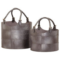 2-Piece Nested Gunmetal Leather Buckets