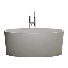 "ADM Oval Freestanding Bathtub, Matte White, 61"""