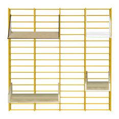 Fency Wall Rack, Pressed Pallet Wood Shelves, Yellow, Medium