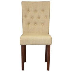 Flare Back Biscuit Shade Upholstered Dining Chairs, Set of 2