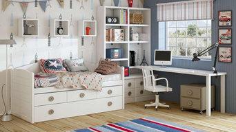 Dormitorios infantiles blancos.