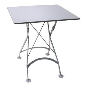 """French Cafe Bistro Folding Table, Silver Gray Frame, 28""""x28"""" Steel Metal Top"""