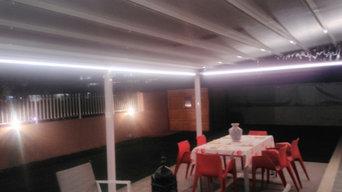 Pergotenda con illuminazione a LED perimetrali completa di radiocomando