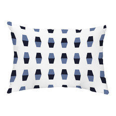 "Bowling Pins 14""x20"" Abstract Decorative Outdoor Pillow, Navy Blue"