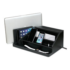 All-In-One Charging Station, Valet, and Desktop Organizer, Black Leatherette