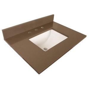 "Bellaterra 30"" Gray Quartz Counter Top With Rectangular Sink 7613-Top-Gy"