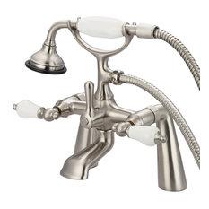 """Vintage 7"""" Spread Deck Mount Tub Faucet & Handshower, Porcelain lever handles"""