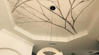 silver leaf branch ceiling- dining