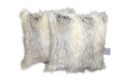 "Faux Fur Canadian Fox Stone Pillow Cover, 18""x18"", Set of 2"