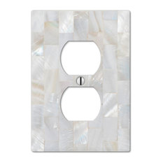 amertac pearl capiz 1 duplex wall plate switch plates and outlet covers - Decorative Outlet Covers